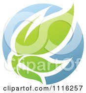 Clipart Green And Blue Natural Organic Sphere And Leaves 3 Royalty Free Vector Illustration