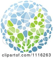 Clipart Green And Blue Natural Organic Sphere And Leaves 5 Royalty Free Vector Illustration