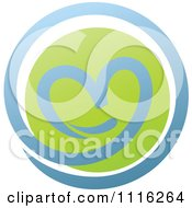 Clipart Green And Blue Natural Organic Heart Sphere Royalty Free Vector Illustration