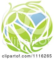 Clipart Green And Blue Natural Organic Sphere And Leaves 1 Royalty Free Vector Illustration