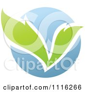 Clipart Green And Blue Natural Organic Sphere And Leaves 2 Royalty Free Vector Illustration