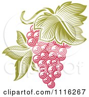 Clipart Purple Grapes And Leaves Wine Icon 1 Royalty Free Vector Illustration