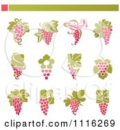 Clipart Purple Grape And Leaves Icons Royalty Free Vector Illustration by elena