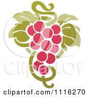 Clipart Purple Grapes And Leaves Wine Icon 3 Royalty Free Vector Illustration by elena