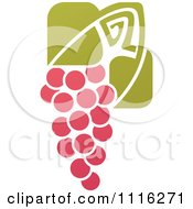 Clipart Purple Grapes And Leaves Wine Icon 10 Royalty Free Vector Illustration by elena