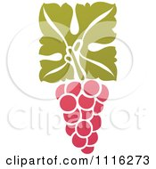 Clipart Purple Grapes And Leaves Wine Icon 12 Royalty Free Vector Illustration by elena