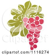 Clipart Purple Grapes And Leaves Wine Icon 4 Royalty Free Vector Illustration by elena