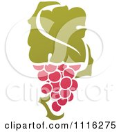Clipart Purple Grapes And Leaves Wine Icon 5 Royalty Free Vector Illustration by elena