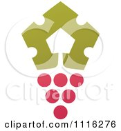 Clipart Purple Grapes And Leaves Wine Icon 6 Royalty Free Vector Illustration by elena