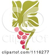 Clipart Purple Grapes And Leaves Wine Icon 7 Royalty Free Vector Illustration by elena