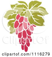 Clipart Purple Grapes And Leaves Wine Icon 9 Royalty Free Vector Illustration by elena