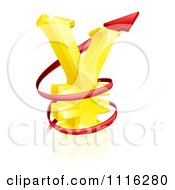 Clipart 3d Increase Spiraling Red Arrow Around A Golden Yen Currency Symbol Royalty Free Vector Illustration by AtStockIllustration