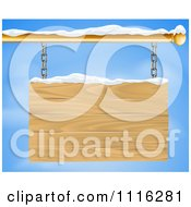 Clipart 3d Wooden Shingle Sign With Snow And Blue Sky Royalty Free Vector Illustration