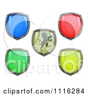 Clipart 3d Colorful And Shiny Shields One With A Lion Royalty Free Vector Illustration