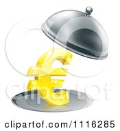 Clipart 3d Gold Euro Symbol On A Silver Platter Under A Cloche Royalty Free Vector Illustration by AtStockIllustration