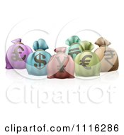 Clipart 3d Colorful Money Sacks With Currency Symbols Royalty Free Vector Illustration