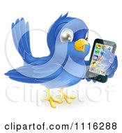 Clipart Cute Bluebird Holding A Cellphone With Apps On The Screen Royalty Free Vector Illustration by AtStockIllustration