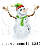Clipart Excited Snowman Wearing A Christmas Elf Hat Royalty Free Vector Illustration by AtStockIllustration