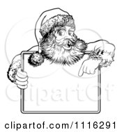 Clipart Black And White Santa Behind Holding And Pointing To A Sign Royalty Free Vector Illustration