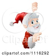 Clipart Cheerful Santa Looking Around And Pointing To A Sign Royalty Free Vector Illustration