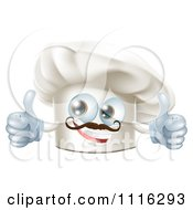 Happy Chef Hat Mascot With A Mustache Holding Two Thumb Up