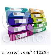 Clipart 3d Colorful Office Organizer Ring Binders 3 Royalty Free CGI Illustration