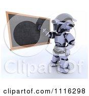 Clipart 3d Robot Teacher Presenting A Blank Black Board Royalty Free CGI Illustration