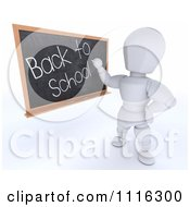 Clipart 3d White Character Teacher Writing Back To School On A Black Board Royalty Free CGI Illustration