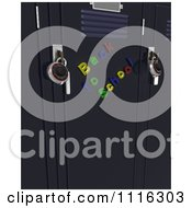 Clipart 3d Back To School Magnets On Lockers With Locks Royalty Free CGI Illustration