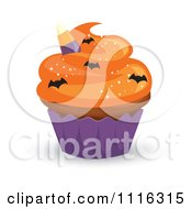 Clipart Halloween Cupcake With Orange Frosting A Purple Wrapper And Bat Sprinkles Royalty Free Vector Illustration by Amanda Kate
