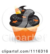 Halloween Cupcake With Black Frosting An Orange Wrapper And Bat Sprinkles