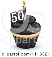 Clipart 50th Birthday Cupcake With Black Frosting And A Candle Royalty Free Vector Illustration