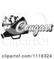 Clipart Black And White Cougars Cheerleader Design Royalty Free Vector Illustration