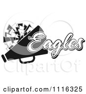 Clipart Black And White Eagles Cheerleader Design Royalty Free Vector Illustration by Johnny Sajem