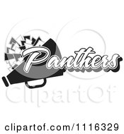 Clipart Black And White Panthers Cheerleader Design Royalty Free Vector Illustration