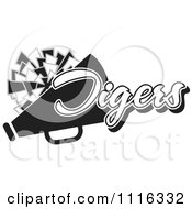 Clipart Black And White Tigers Cheerleader Design Royalty Free Vector Illustration by Johnny Sajem