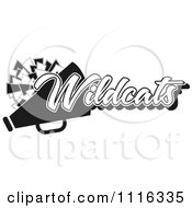 Clipart Black And White Wildcats Cheerleader Design Royalty Free Vector Illustration