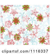 Clipart Seamless Poinsettia And Snowflake Background Pattern On White Royalty Free Vector Illustration