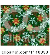 Clipart Seamless Poinsettia And Snowflake Background Pattern On Green Royalty Free Vector Illustration