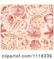 Clipart Seamless Red Pomegranate Pattern On Peach Royalty Free Vector Illustration by Cherie Reve