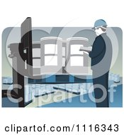 Clipart Quality Control Warehouse Worker Inspecting Drums On A Forklift Royalty Free Vector Illustration
