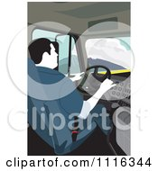 Clipart Big Rig Truck Driver Behind The Wheel Royalty Free Vector Illustration