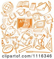 Clipart Orange Chalkboard Surrounded By School Items Royalty Free Vector Illustration