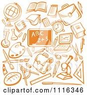 Orange Chalkboard Surrounded By School Items