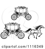 Clipart Black And White Prancing Horse And Romantic Wedding Carriage And Lone Carriage Royalty Free Vector Illustration by Vector Tradition SM