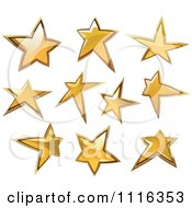 Clipart Shiny Golden Star Icons Royalty Free Vector Illustration