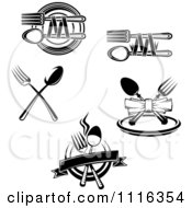 Clipart Black And White Dining And Restaurant Silverware Logos 2 Royalty Free Vector Illustration by Vector Tradition SM