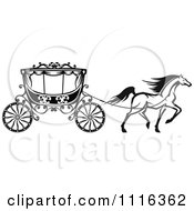 Clipart Black And White Prancing Horse And Romantic Wedding Carriage Royalty Free Vector Illustration