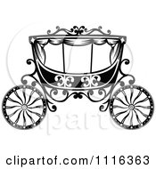 Clipart Black And White Fairy Tale Romantic Wedding Carriage Royalty Free Vector Illustration