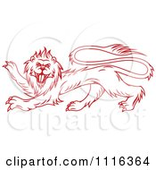 Clipart Red Heraldic Lion Royalty Free Vector Illustration